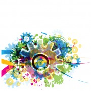 Link toSet of colorful gear vector background 04