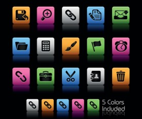 Set of Commonly web Colorful Icons vector 01