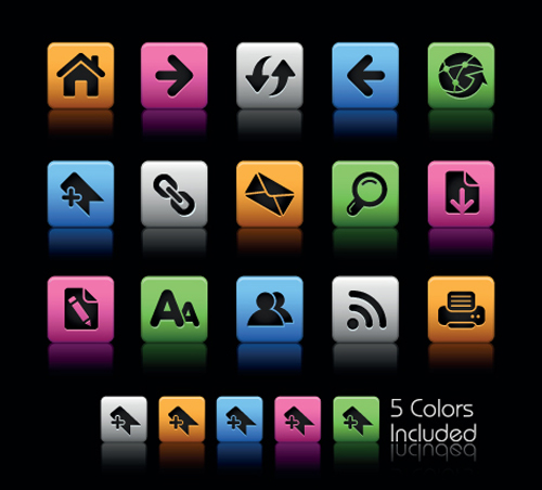 Set of Commonly web Colorful Icons vector 03