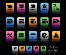 Set of Commonly web Colorful Icons vector 05