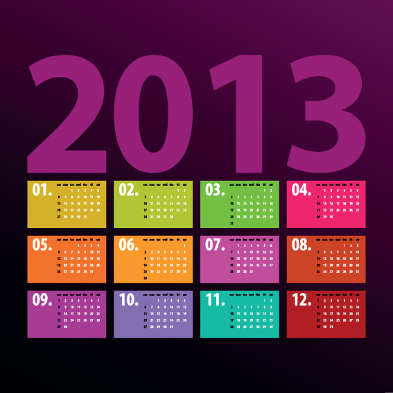 Creative 2013 Calendars Design Elements Vector Set 06  Calendar Sample Design
