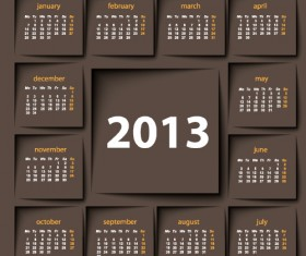 Creative 2013 Calendars design elements vector set 09