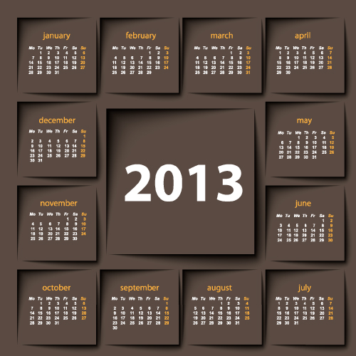 Calendar Design Ideas Vector : Creative calendars design elements vector set free