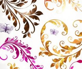 Delicate Floral pattern background element vector set 03