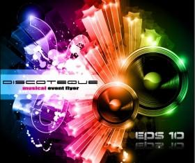 Multicolor of Disco Party Flyer design vector 01