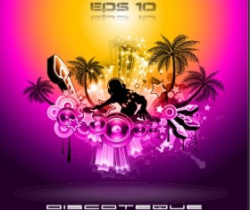 Multicolor of Disco Party Flyer design vector 02