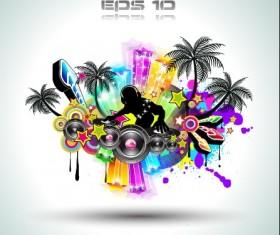 Multicolor of Disco Party Flyer design vector 03