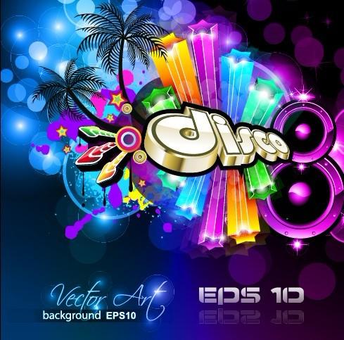 Multicolor of Disco Party Flyer design vector 05
