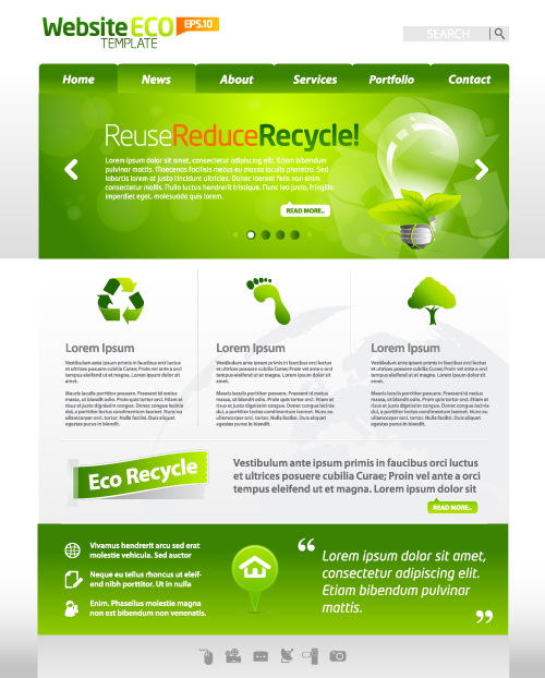 Green ECO Website Template design vector 04 - Vector Web design ...