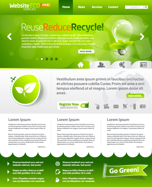Green ECO Website Template design vector 05 - Vector Web design ...