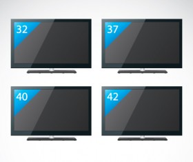 Set of Electronics lcd TV elements vector 01