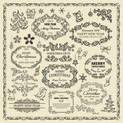 Link toElements of christmas vintage frames and ornaments vector 02