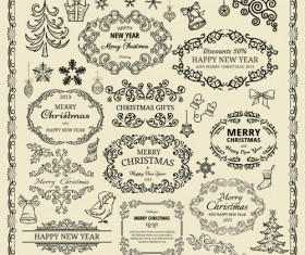 Elements of Christmas vintage frames and ornaments vector 02