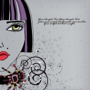 Link toHand drawn woman with fashion art background vector 02