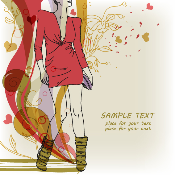 fashion illustration ppt with fashion background vector 05