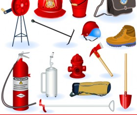 Firefighter and Firefighting tool design vector 01