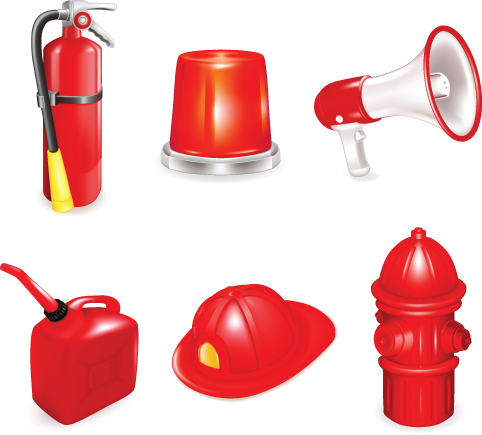 Firefighter and Firefighting tool design vector 02