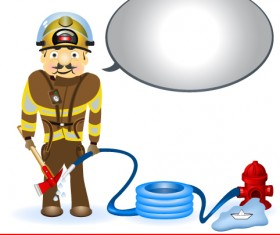 Firefighter and Firefighting tool design vector 03
