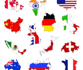 countries Flags and Map design vector 01