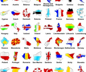 countries Flags and Map design vector 02