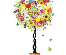 Colorful Floral Tree design vector material 04