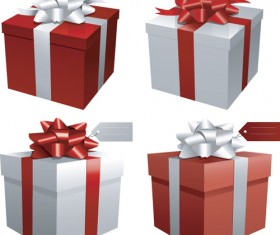 Exquisite Gift boxes design elements vector 01