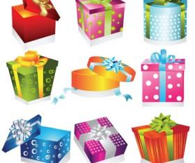 Vivid Colored Gifts Box vector graphics 01