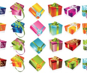 Vivid Colored Gifts Box vector graphics 02