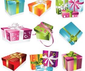Vivid Colored Gifts Box vector graphics 03