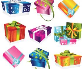 Vivid Colored Gifts Box vector graphics 04