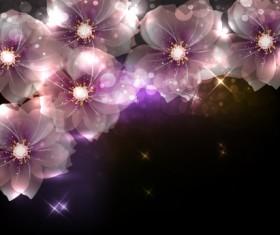 Elements of Glowing Flowers design vector 02