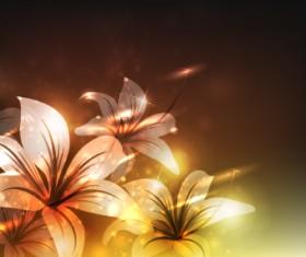 Elements of Glowing Flowers design vector 03