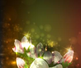 Elements of Glowing Flowers design vector 04