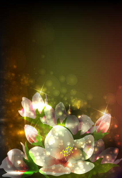 elements of glowing flowers design vector 04