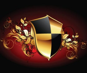 luxurious of Heraldic Shield design vector 01