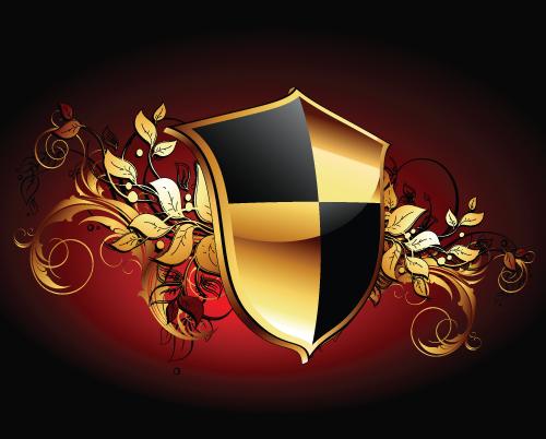 luxurious of Heraldic Shield design vector 01