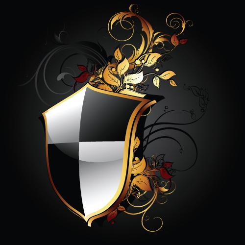 luxurious of Heraldic Shield design vector 02