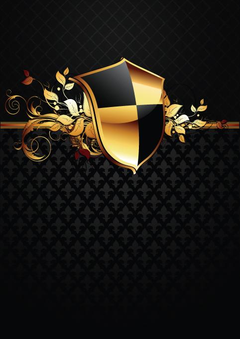 luxurious of Heraldic Shield design vector 04