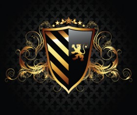 luxurious of Heraldic Shield design vector 05