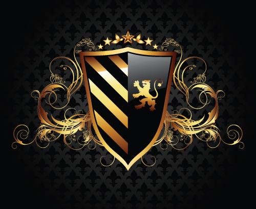 luxurious of Heraldic Shield design vector 05