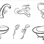 Bathroom design elements vector illustration 01