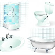 Bathroom design elements vector illustration 02