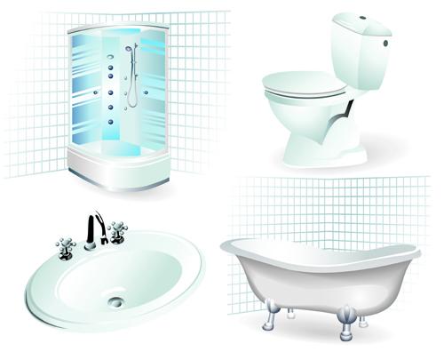 Bathroom design elements vector illustration 02 over for Free online bathroom design templates