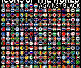 World Flags Icons vector set 01