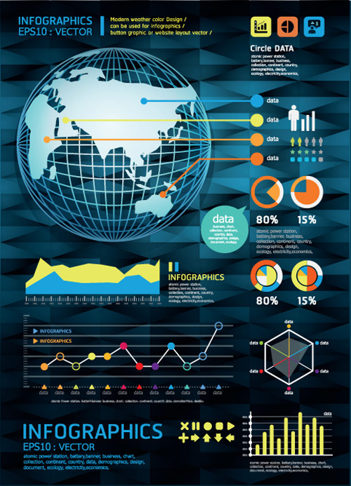 Set of Year Infographic and diagram vector material 05