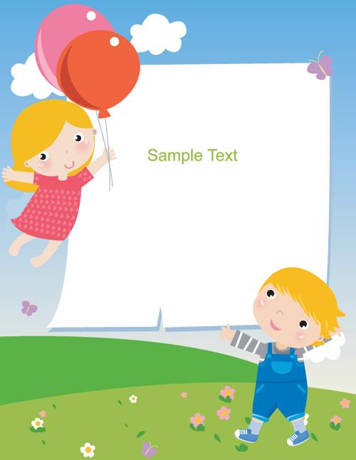 cartoon cute kids vector material 03