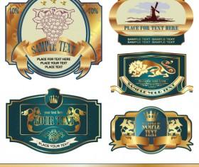 Golden bottle of wine labels vector 01