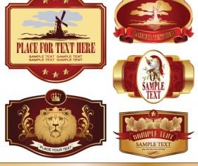 Golden bottle of wine labels vector 02
