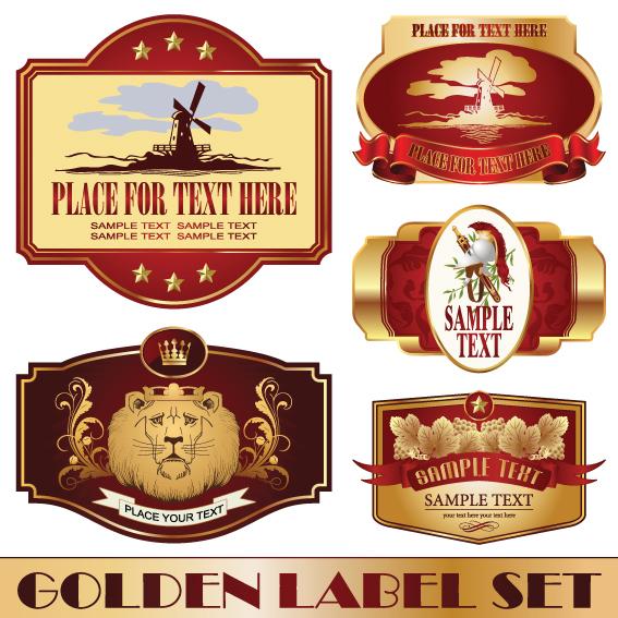 Golden Bottle Of Wine Labels Vector 02 Free Download