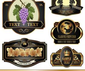 Golden bottle of wine labels vector 04